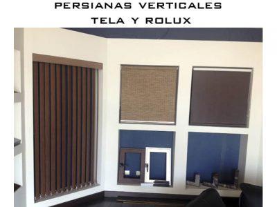 persiana de tela y rolux verticales